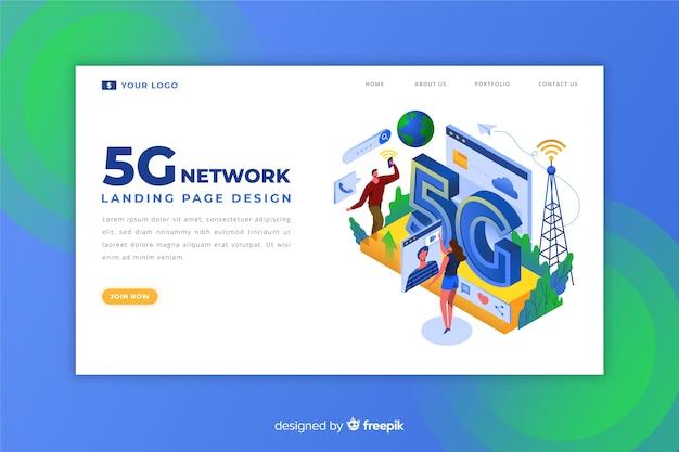 5g internet landing page design Kostenlosen Vektoren