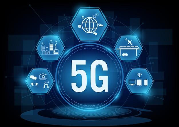 5g kommunikationsnetzwerksysteme mit liniensymbol. Premium Vektoren