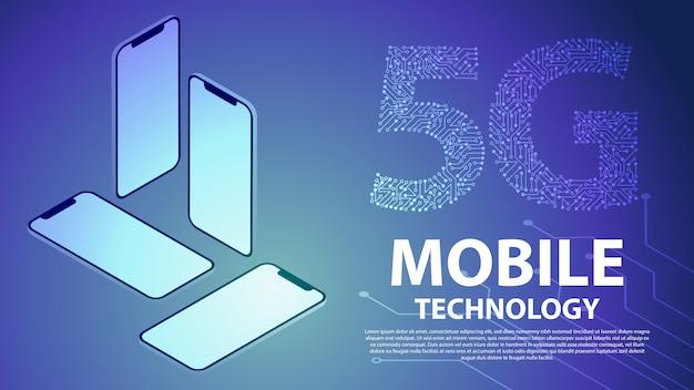 5g mobile technologie hintergrund Premium Vektoren