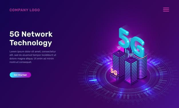 5g netzwerktechnik, isometrisches konzept Kostenlosen Vektoren