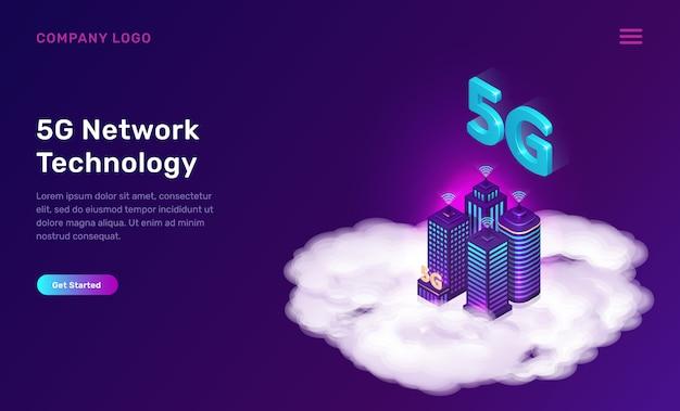 5g netzwerktechnologie, isometrisches konzept Kostenlosen Vektoren