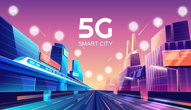 5g wireless-netzwerk und smart city-konzept. nachtstadt mit dingen und dienstleistungen symbole verbindung, internet der dinge, 5g-netzwerk drahtlos mit hochgeschwindigkeitsverbindung flaches design. Premium Vektoren