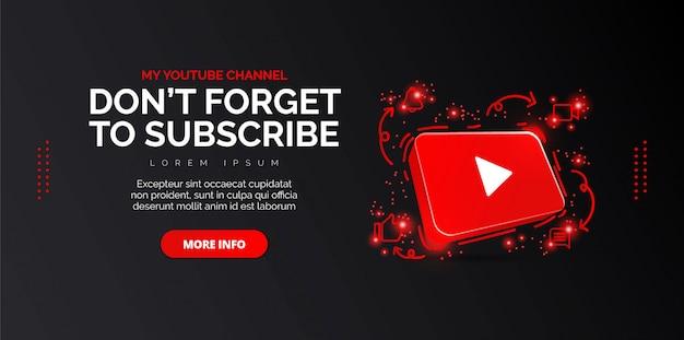 6.3d youtube icon abstrakte konzeptionelle illustration isoliert auf schwarz. Premium Vektoren