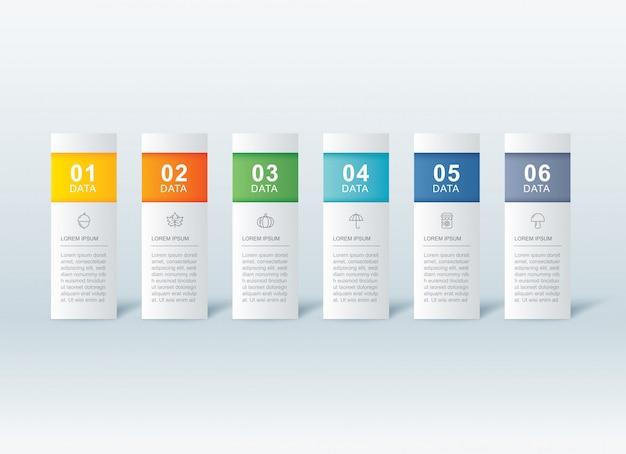 6 dateninfografiken registerkarte papier indexvorlage. Premium Vektoren