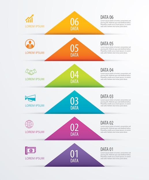 6 dreieck timeline infografik optionen papiervorlage mit daten Premium Vektoren