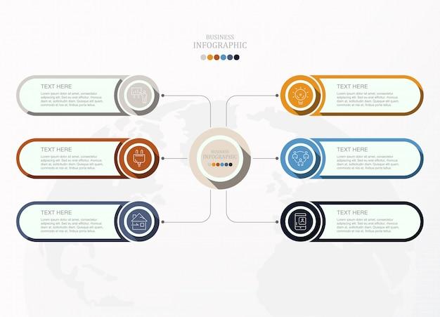 6 prozess infografik für geschäftskonzept. Premium Vektoren