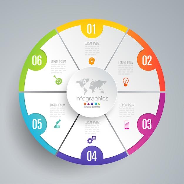 6 schritte business infografik elemente für die präsentation Premium Vektoren