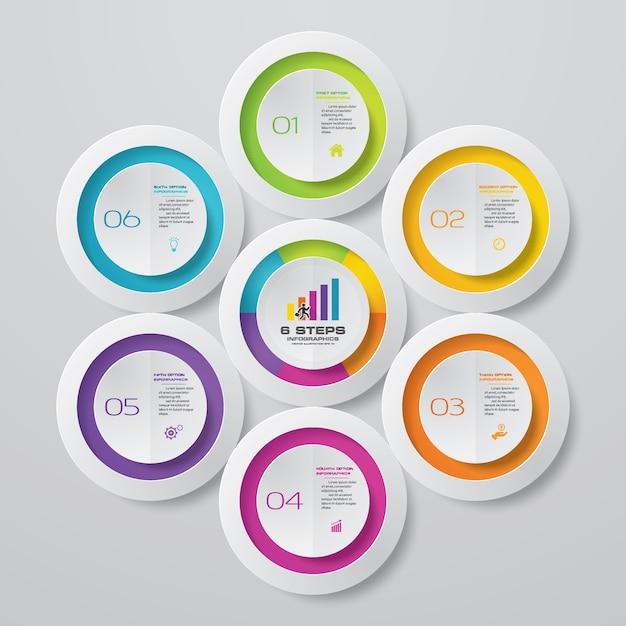 6 schritte prozessdiagramm infografiken element. Premium Vektoren