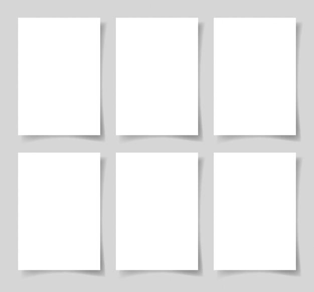 6 stück leeres a4-blatt weißes papier mit dem schatten Premium Vektoren