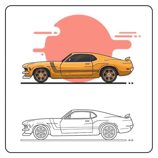 70s autos einfach bearbeitbar Premium Vektoren