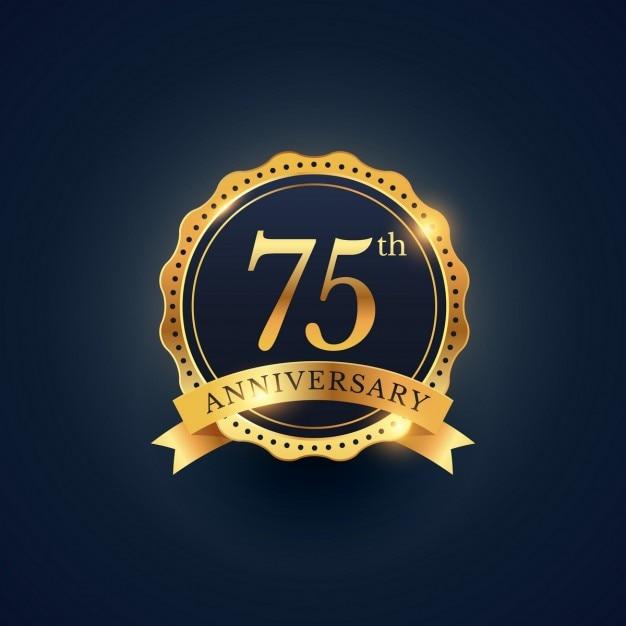 75. jahrestag feier abzeichen etikett in der goldenen farbe Kostenlosen Vektoren