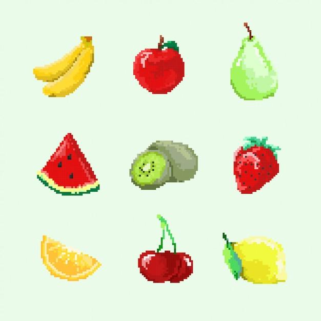 8 bit frucht Premium Vektoren
