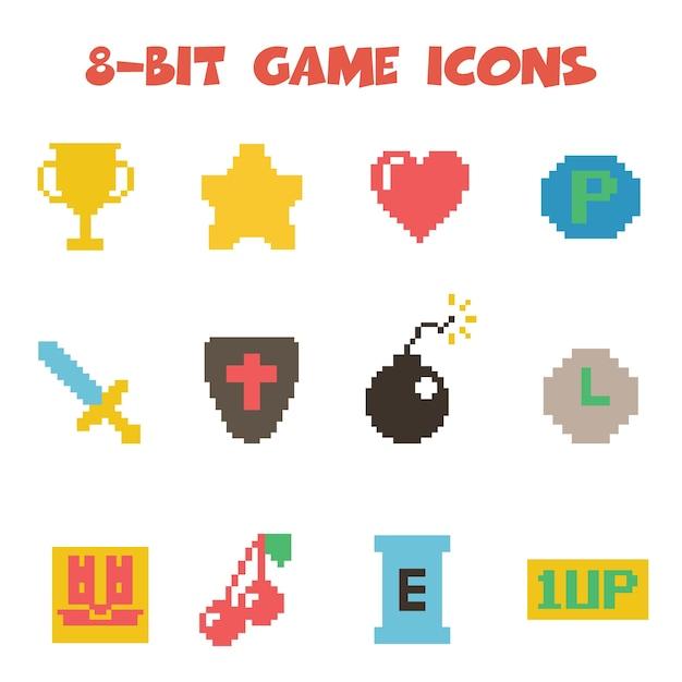 8-bit-objektsymbole Premium Vektoren