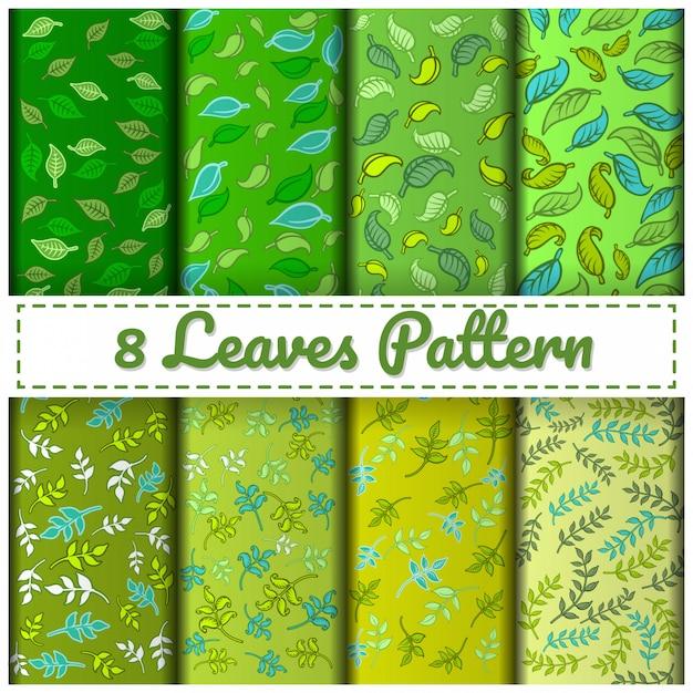 8 blätter mustersatzfarbe grün. Premium Vektoren