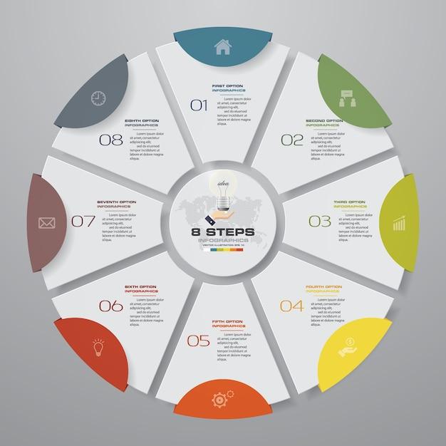 8 schritte modernes kreisdiagramm infographics elemente. Premium Vektoren