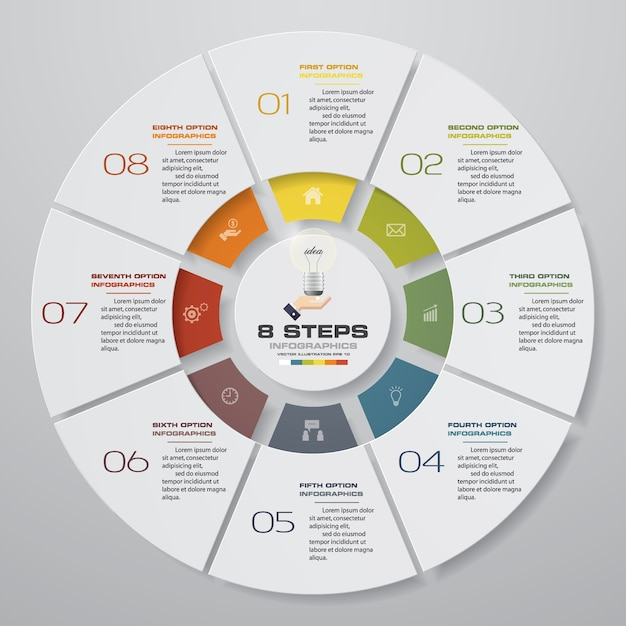 8 schritte zyklus diagramm infografiken elemente. Premium Vektoren