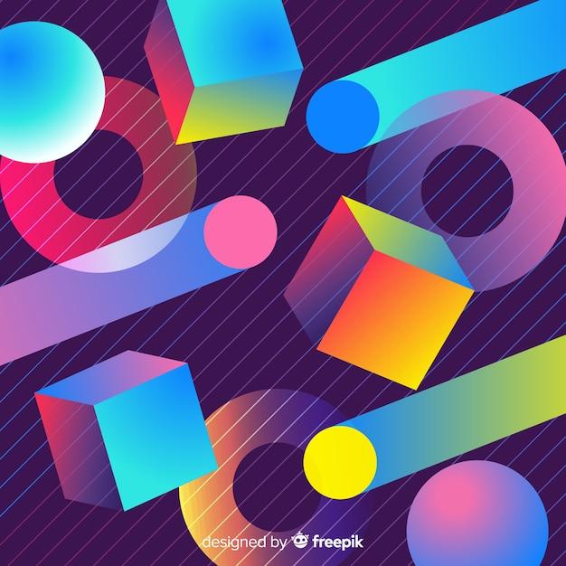 80er jahre geometrische hintergrunddesign mit retro-stil Kostenlosen Vektoren