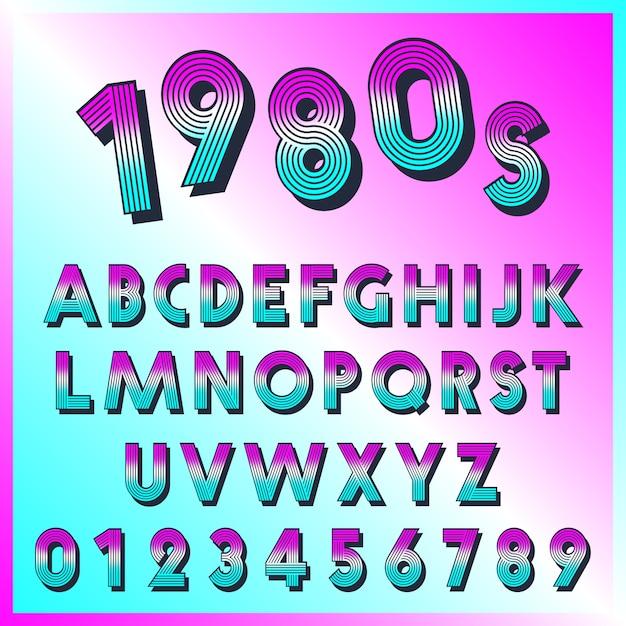 80er jahre retro-schriftvorlage. satz buchstaben und zahlenlinien weinlesedesign. Premium Vektoren