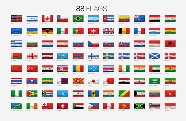 88 nationalflaggen mit namen Premium Vektoren
