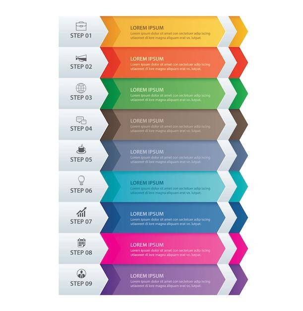 9 daten infografiken registerkarte papierpfeilvorlage. Premium Vektoren