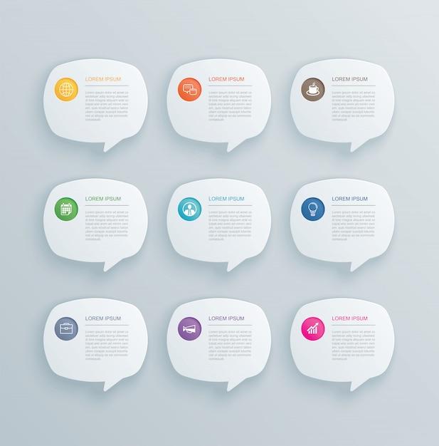 9 infografiken mit bubble speech template design. Premium Vektoren