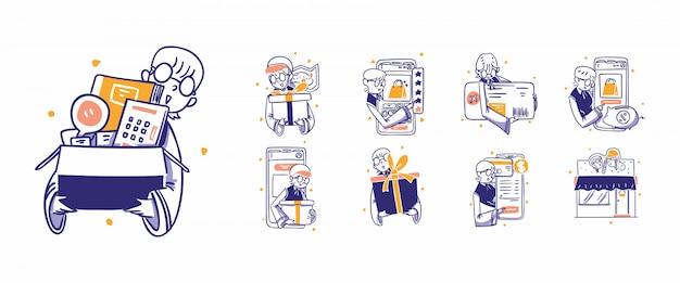 9 online-shopping, e-commerce-symbolillustration im handgezeichneten designstil. kauf, kauf, geschenk, preis, preis, bewertung, karte, kredit, ticket, bezahlung, zahlung, verkauf, kostenlos, lieferung, apps, online, shop, shop Premium Vektoren