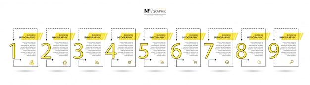 9 schritte entwurfsvorlage für zeitleisten-infografiken. Premium Vektoren