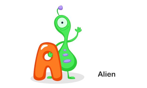 A für alien Premium Vektoren
