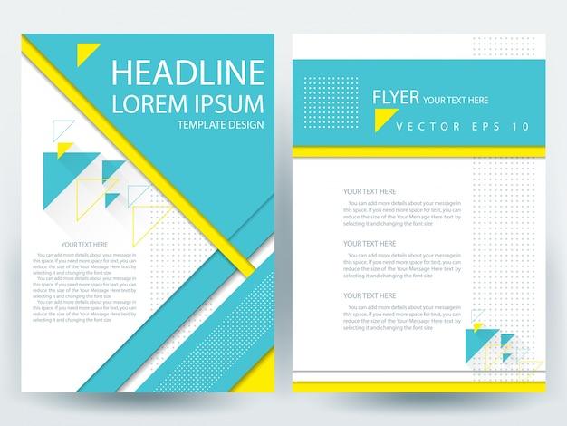 A4 broschüre layout vorlage mit blau und gelb geometrisch Kostenlosen Vektoren