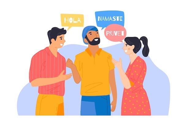 Abbildung der freunde, die in den verschiedenen sprachen sprechen Kostenlosen Vektoren
