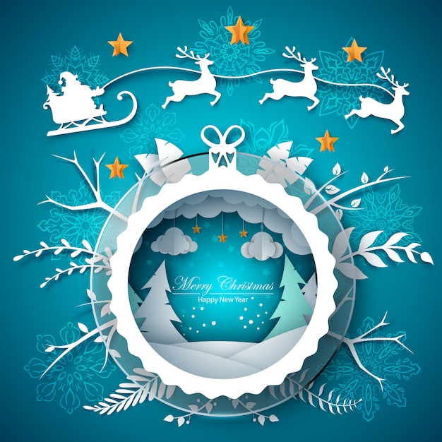 Abbildung der frohen weihnachten. karikaturpapierlandschaft. Premium Vektoren