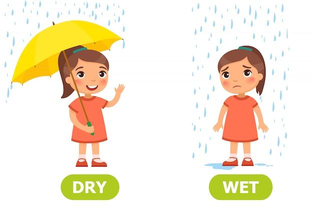 Abbildung der gegensätze trocken und nass Premium Vektoren