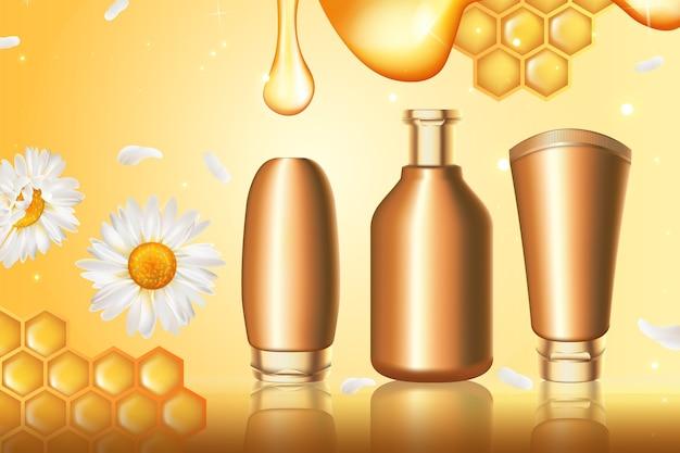 Abbildung der honigkosmetikserie. Premium Vektoren