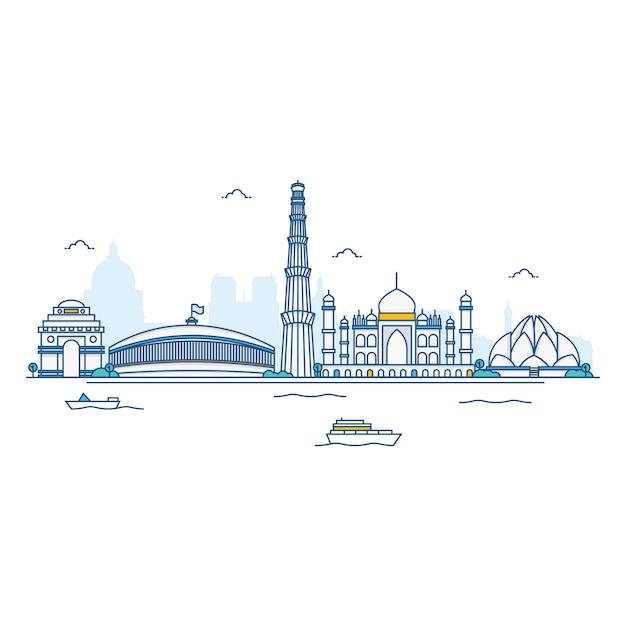 Abbildung der indien-skyline. Premium Vektoren