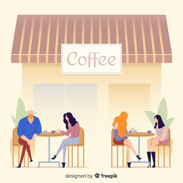 Abbildung der leute, die im kaffee sitzen Kostenlosen Vektoren