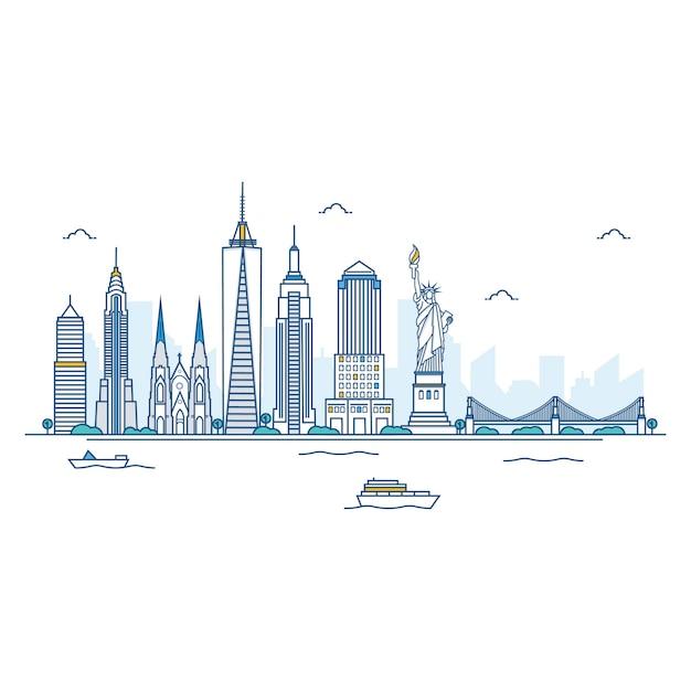 Abbildung der new york skyline. Premium Vektoren