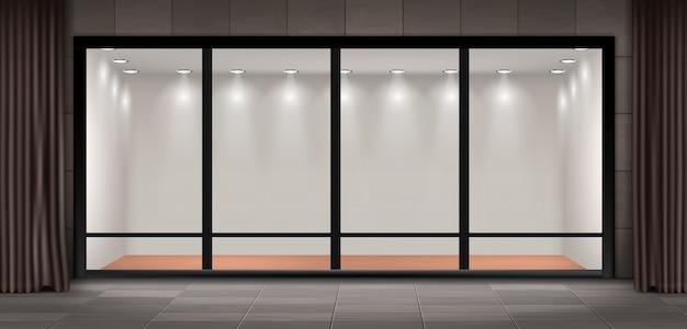 Abbildung der schaufenster, glasvitrine für präsentationen und museumsausstellung Kostenlosen Vektoren