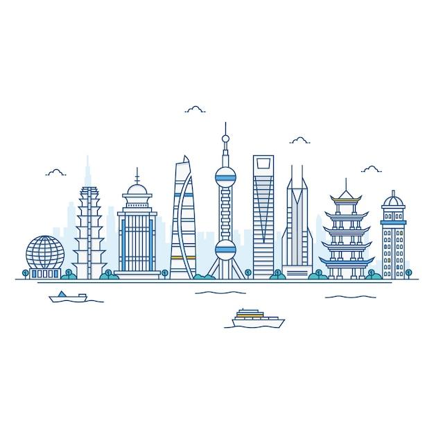 Abbildung der shanghai-skyline. Premium Vektoren