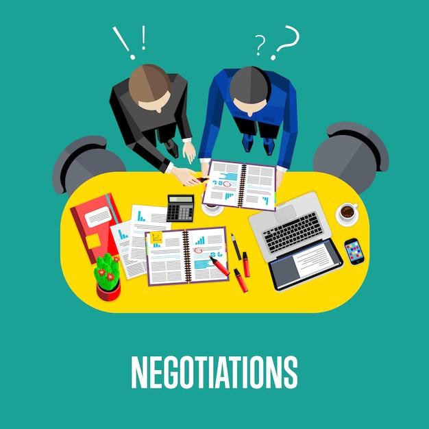 Abbildung der verhandlung. geschäftsarbeitsbereich der draufsicht Premium Vektoren