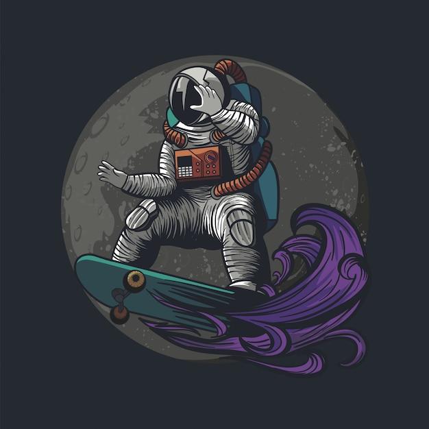 Abbildung des astronauten, des kosmonauten, die skateboard und des sports auf dem raum mit astronautenanzug zahlen Premium Vektoren