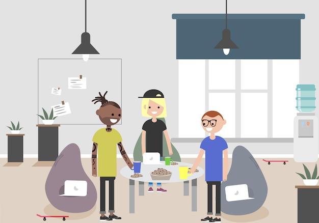 Abbildung des coworking space. arbeitsplatz, büro. modernes büro. millennials bei der arbeit. Premium Vektoren