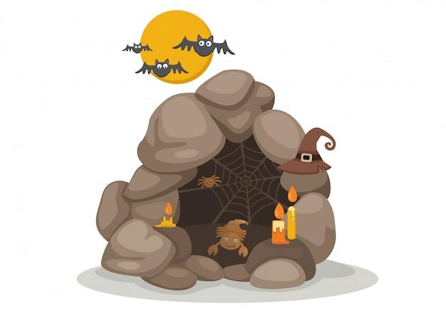 Abbildung des halloween-höhlenvektors Premium Vektoren