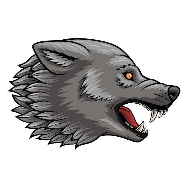 Abbildung des hauptwolfmaskottchens Premium Vektoren