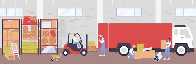 Abbildung des lagerlieferprozesses. karikatur flache arbeiterleute, die laderstapler für das laden von kisten zur lieferung des lastwagens verwenden, arbeiten im lagerhausgebäude, logistischer diensthintergrund Premium Vektoren