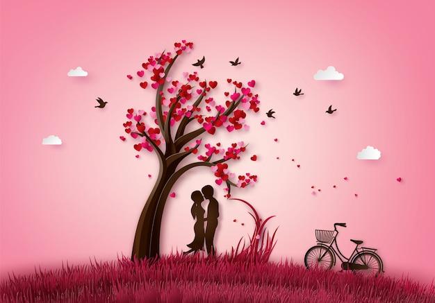 Abbildung des liebes- und valentinstags Premium Vektoren