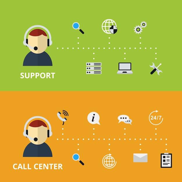 Abbildung des support- und call center-konzepts. technische hilfe und informationen. vektorillustration Kostenlosen Vektoren