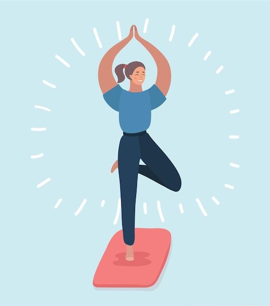 Abbildung einer jungen frau, die eine yoga-pose für gleichgewicht und dehnung macht. Premium Vektoren