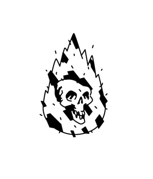 Abbildung eines brennenden weißen schädels Premium Vektoren