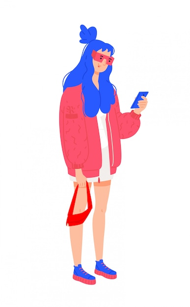 Abbildung eines jungen mädchens in einer roten jacke. Premium Vektoren
