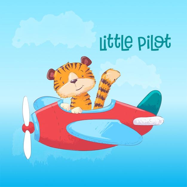 Abbildung eines netten tigers auf einem flugzeug. Premium Vektoren